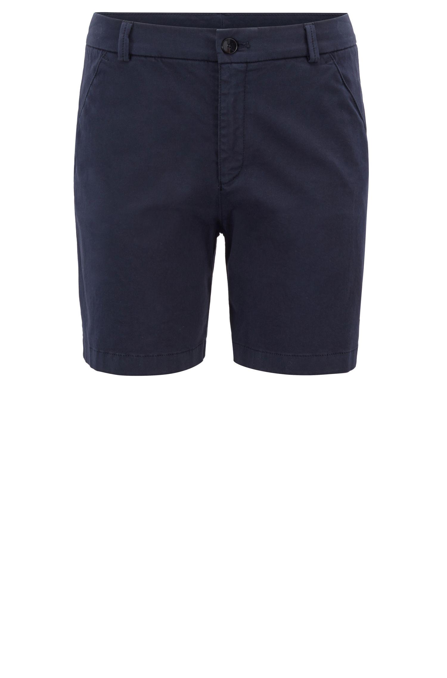 Regular-fit shorts in satin-touch stretch cotton, Dark Blue