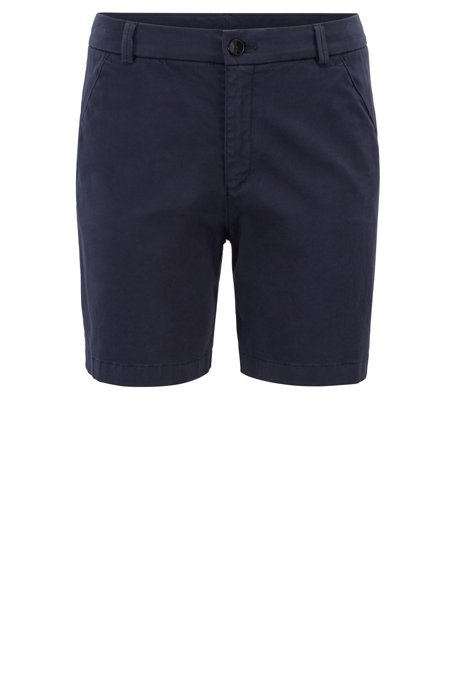 Short Regular Fit en coton stretch satiné, Bleu foncé