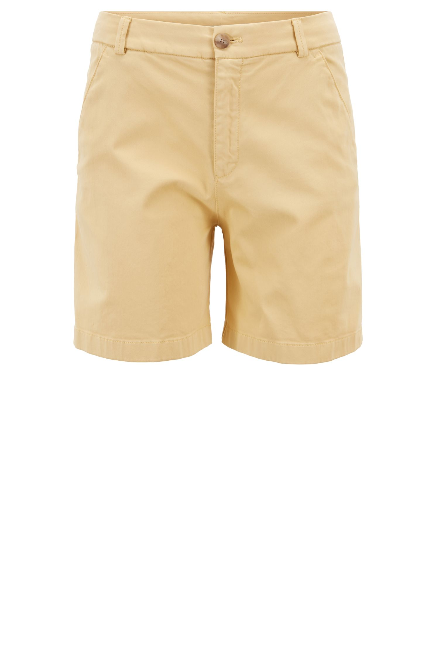 Shorts regular fit en algodón elástico con un tacto satinado, Amarillo claro