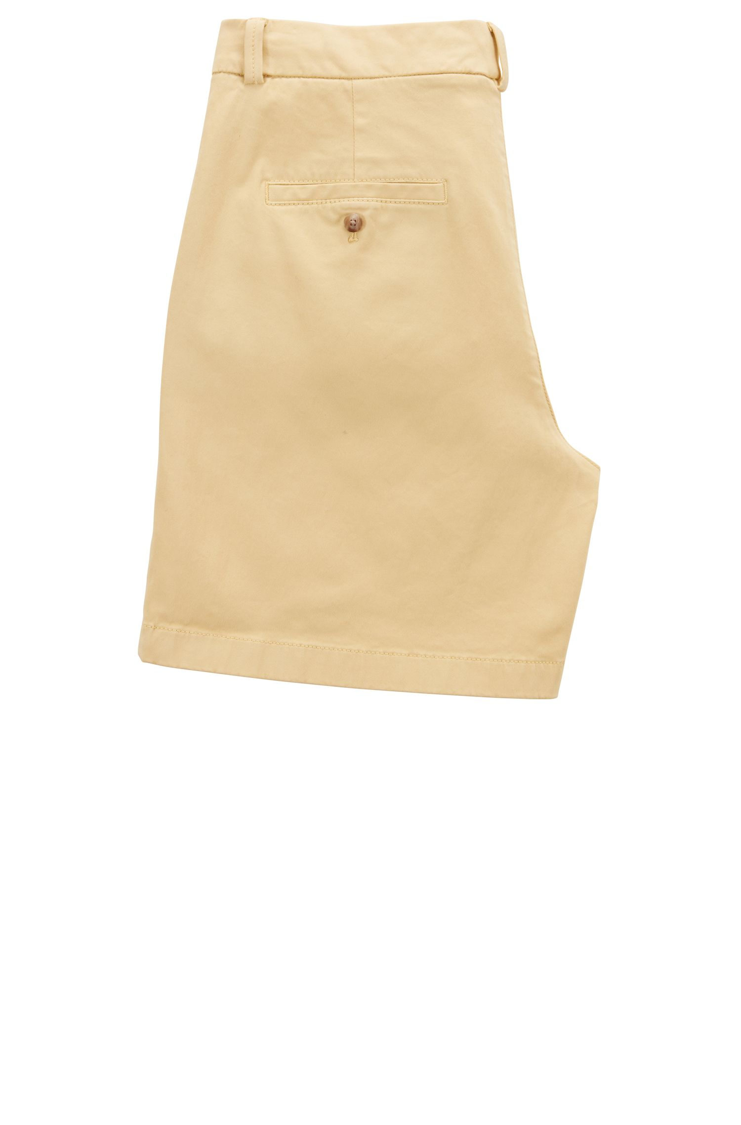 Regular-fit shorts in satin-touch stretch cotton, Light Yellow
