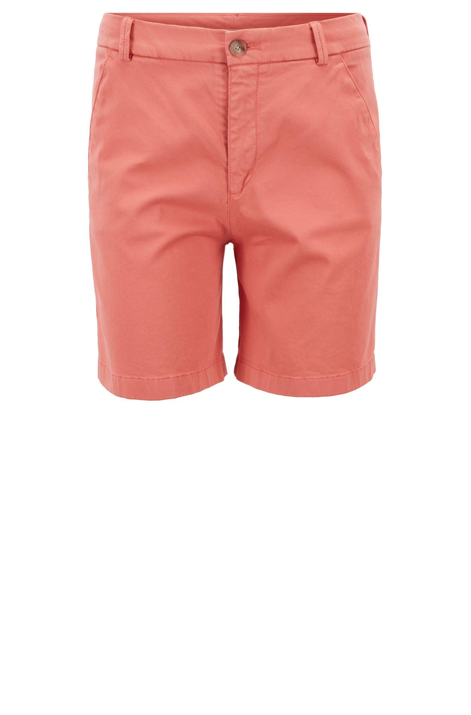 Pantaloncini regular fit in cotone elasticizzato effetto satin, Arancio chiaro