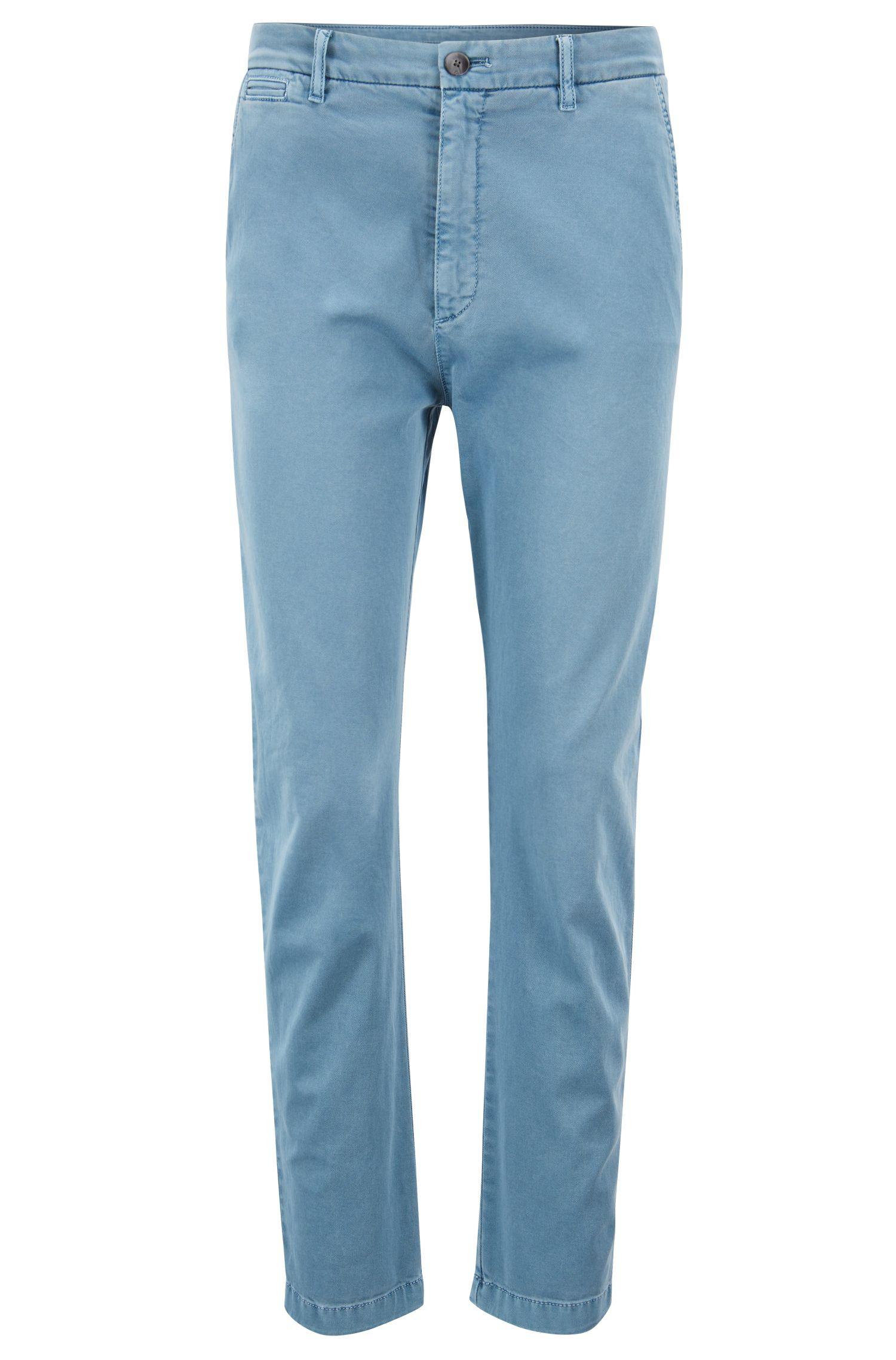 Relaxed-Fit Chino aus elastischem Baumwoll-Twill in Cropped-Länge, Blau