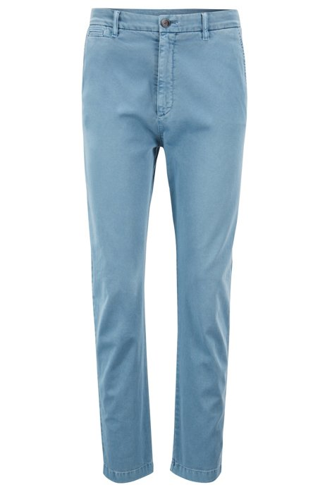 Relaxed-fit chino in een stretchkatoenen twill, Blauw