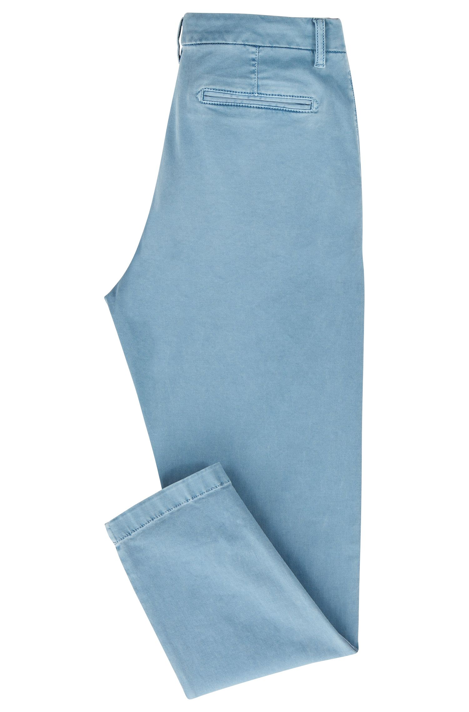 Relaxed-fit cropped chinos in stretch-cotton twill, Blue