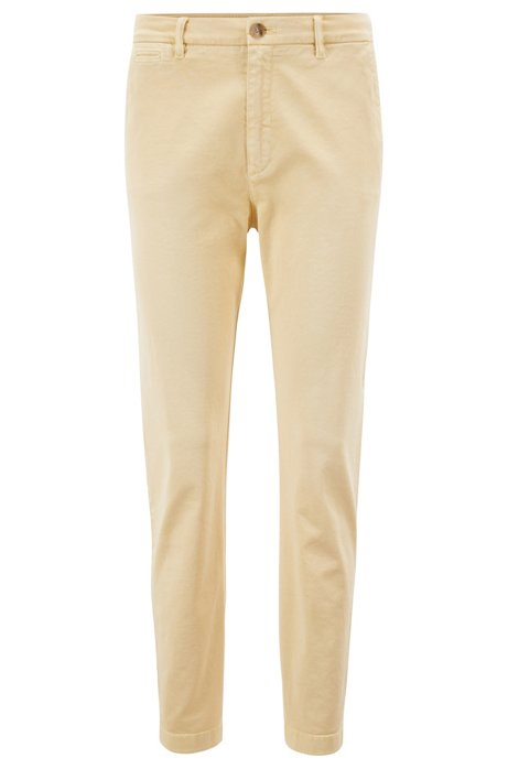 Relaxed-fit chino in een stretchkatoenen twill, Lichtgeel