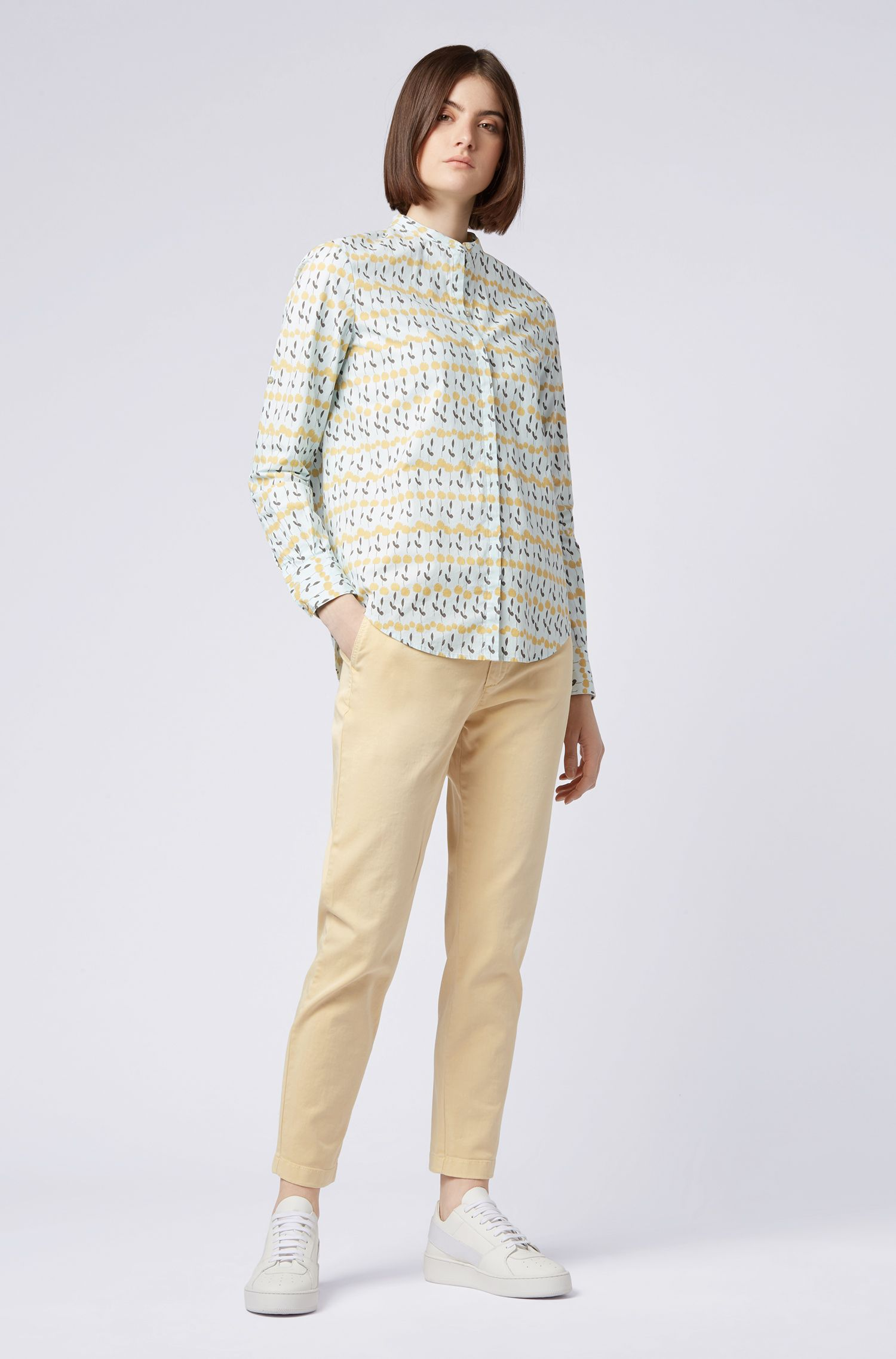 Relaxed-fit cropped chinos in stretch-cotton twill, Light Yellow