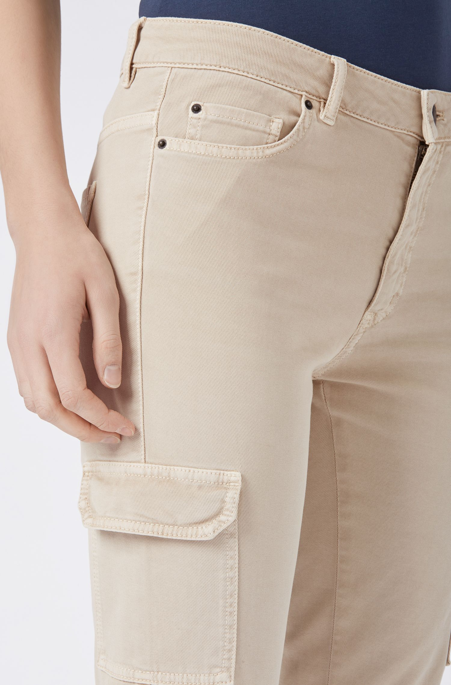 Slim-fit cargo trousers in stretch cotton, Beige