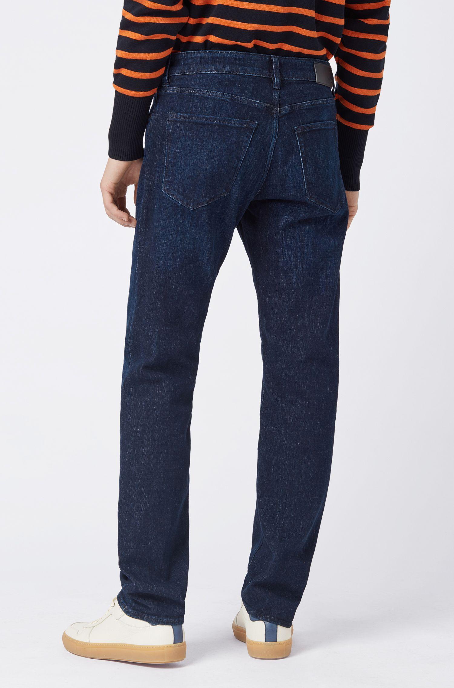 Regular-fit jeans van donkerblauw stretchdenim, Blauw