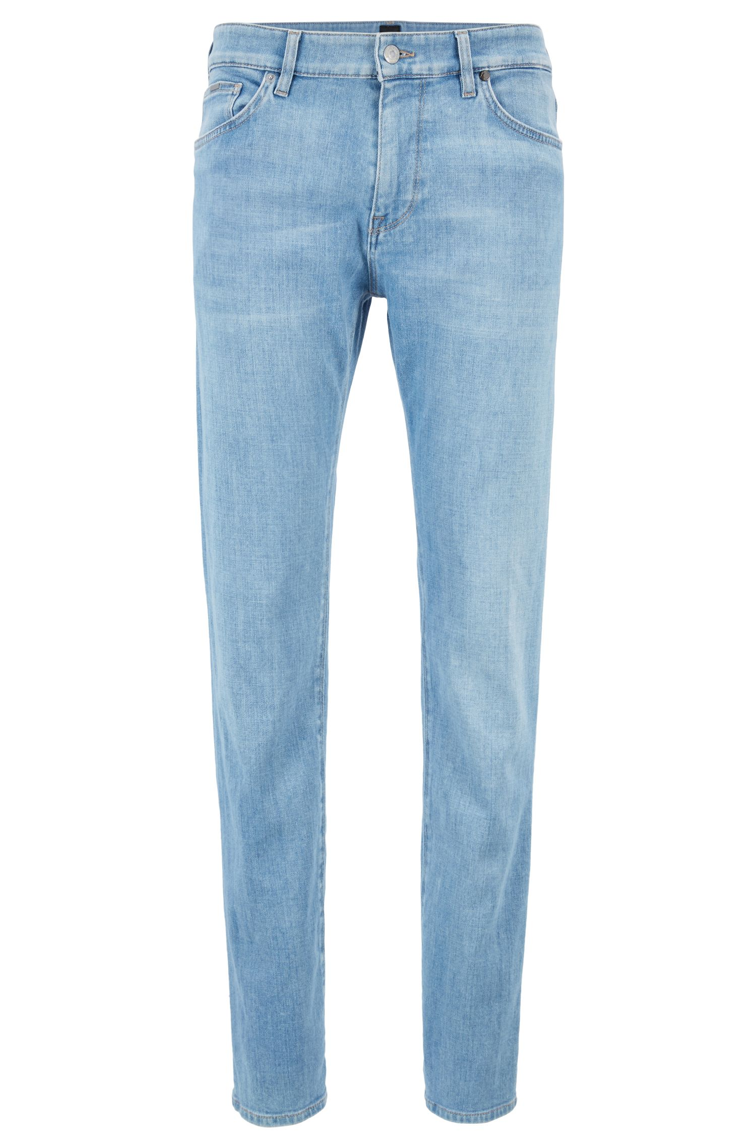 Jeans regular fit in denim elasticizzato italiano blu acceso, Turchese