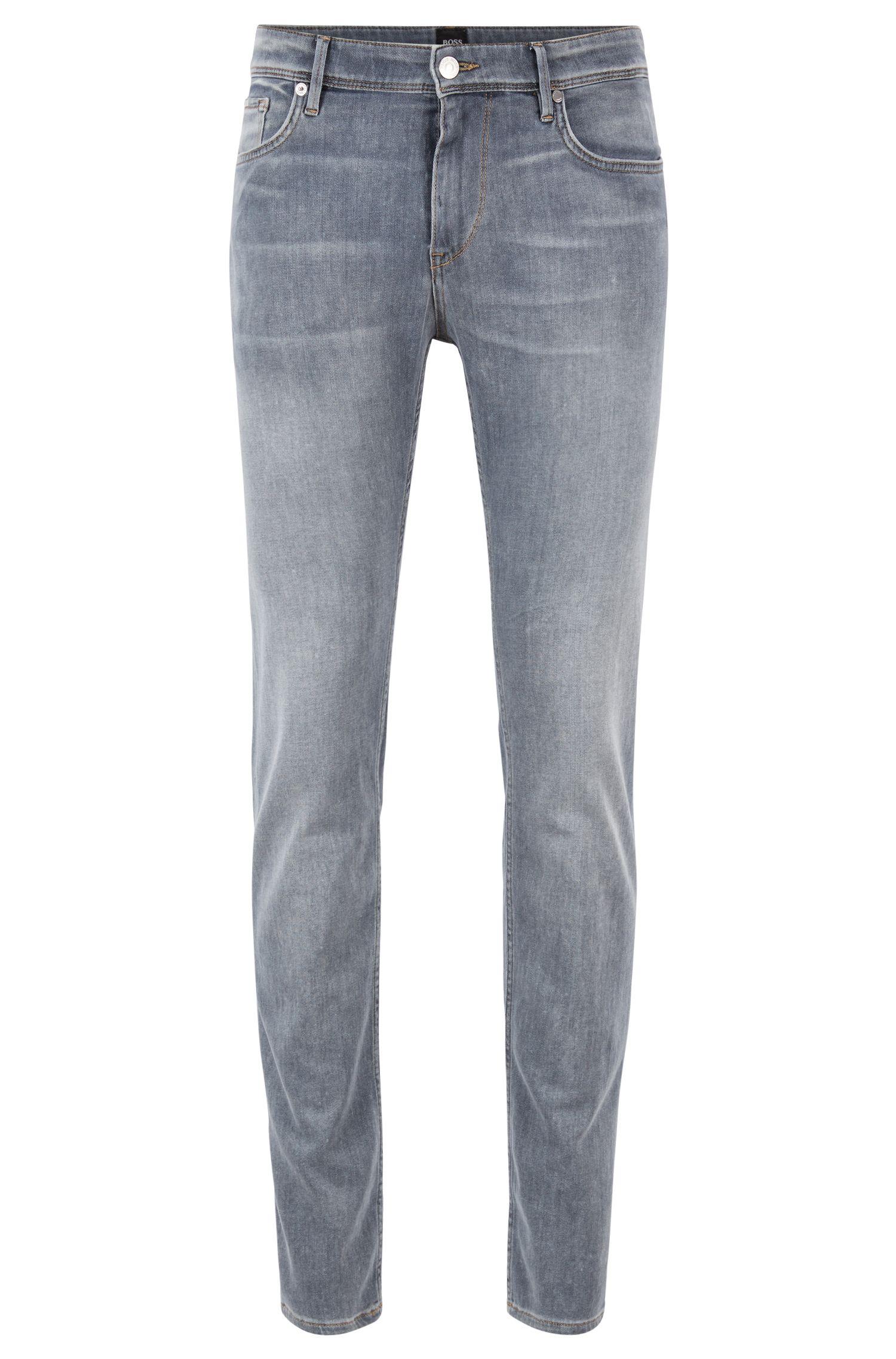 Extra slim-fit jeans van licht, Italiaans stretchdenim, Grijs