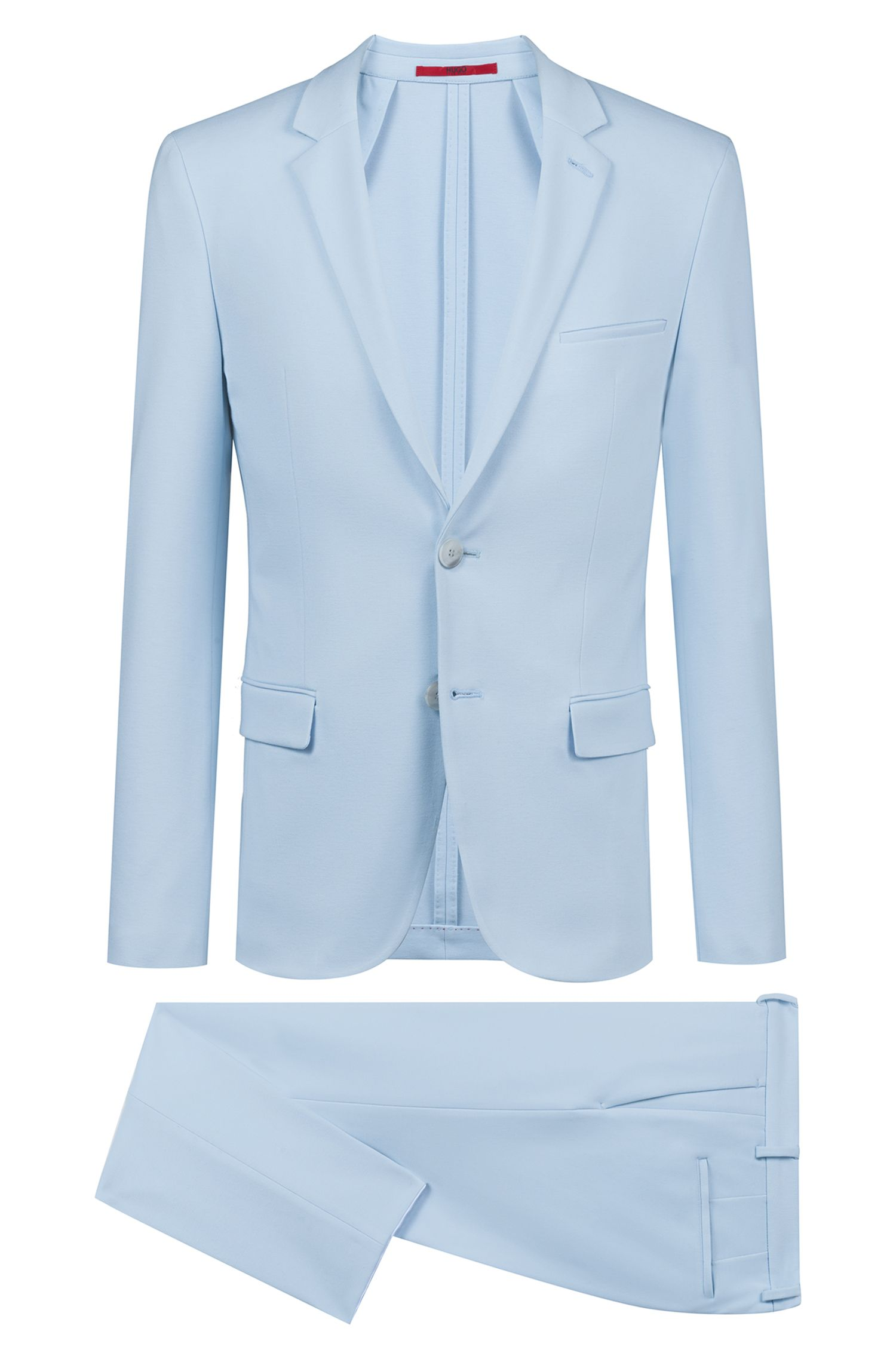Extra-slim-fit suit in mid-weight stretch jersey, Light Blue
