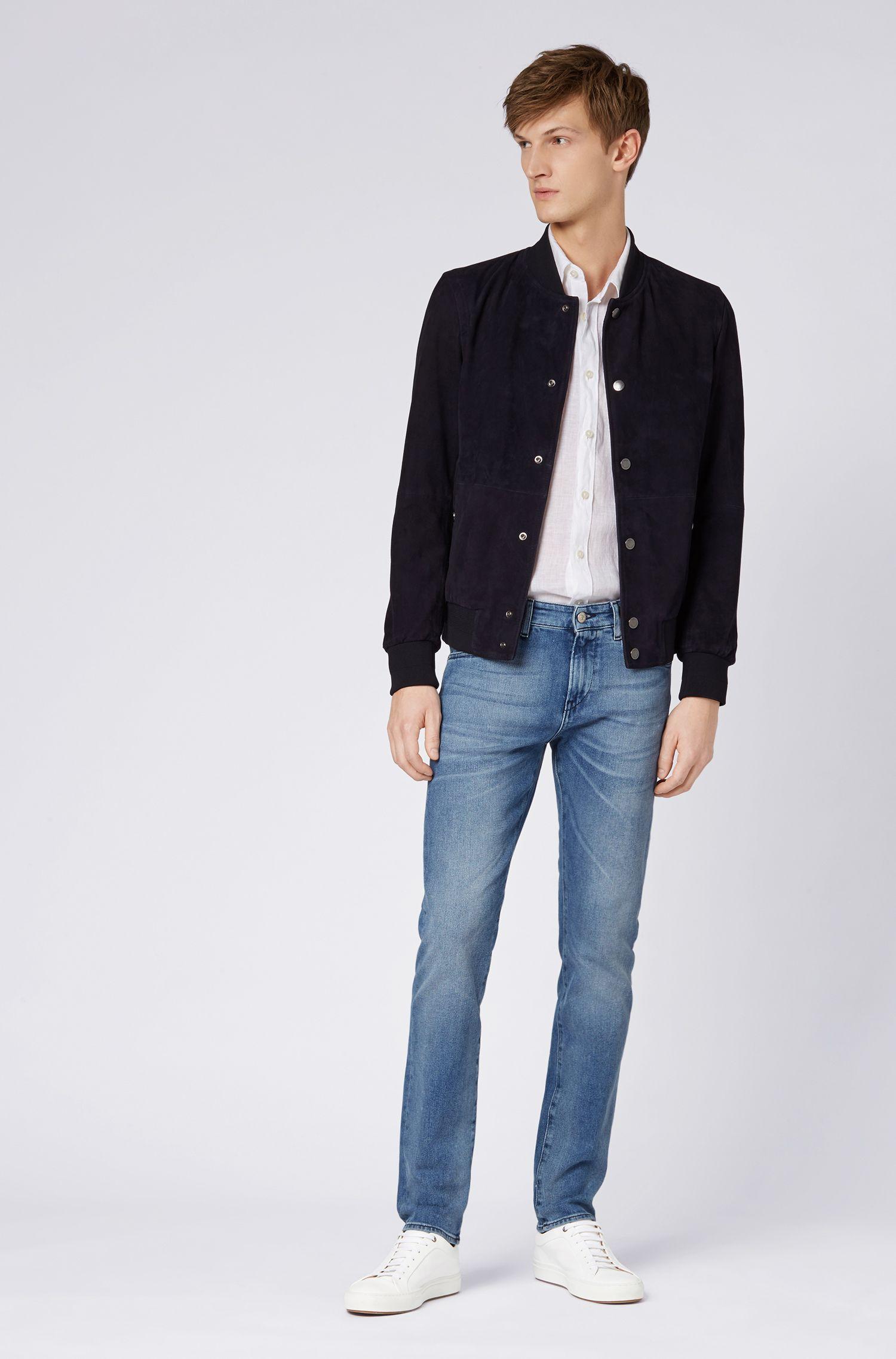 Jeans slim fit in denim elasticizzato blu acceso, Blu