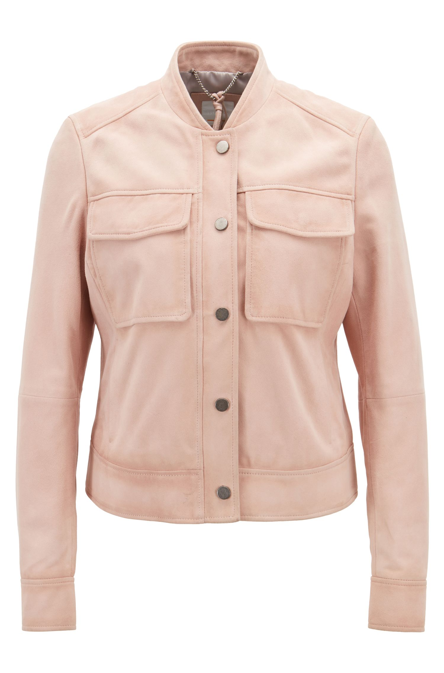 Hugo Boss - Bomber jacket in suede leather with patch pockets - 1
