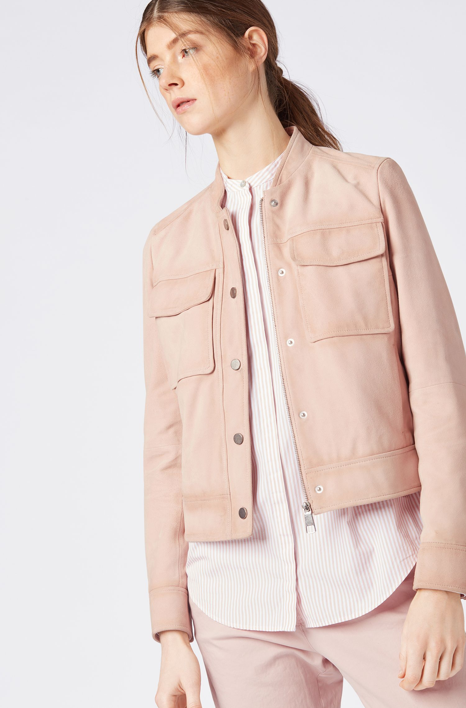 Bomber jacket in suede leather with patch pockets, Light Red