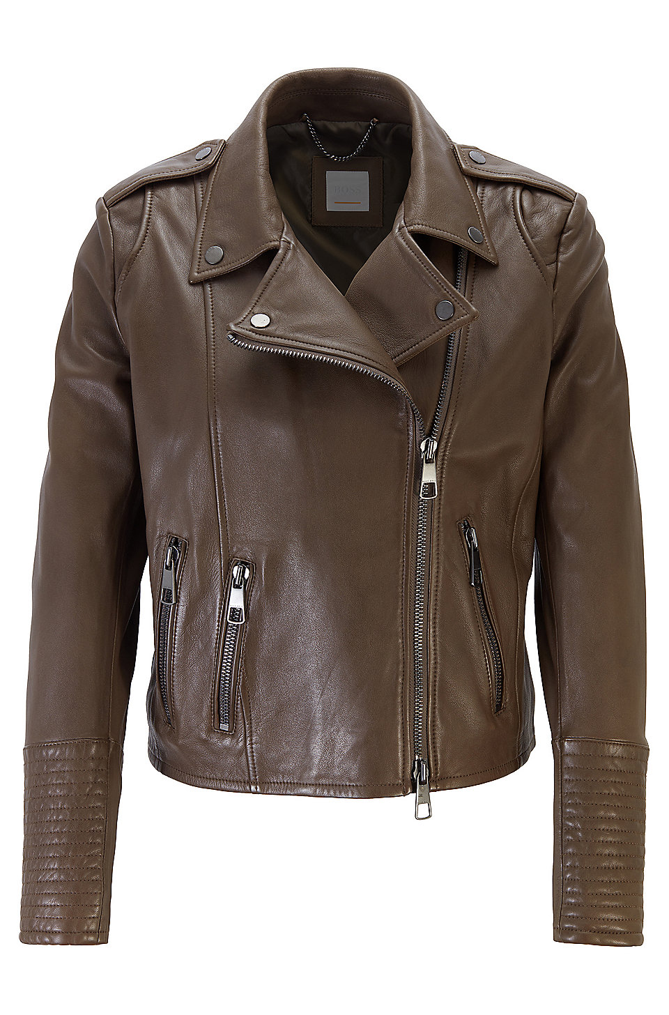 2d57e9ee93 BOSS - Regular-fit asymmetric biker jacket in nappa leather