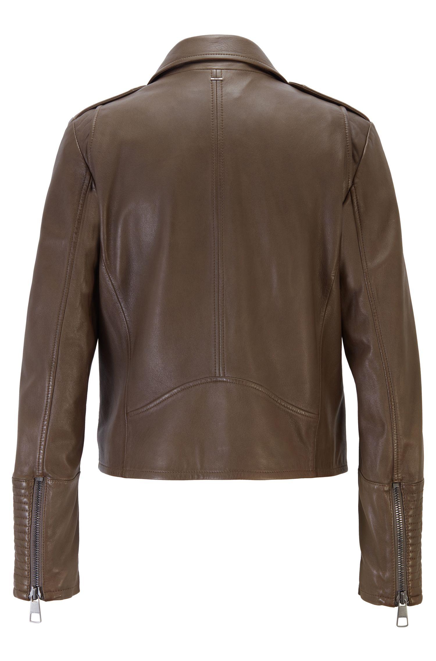 Regular-fit asymmetric biker jacket in nappa leather, Open Grey