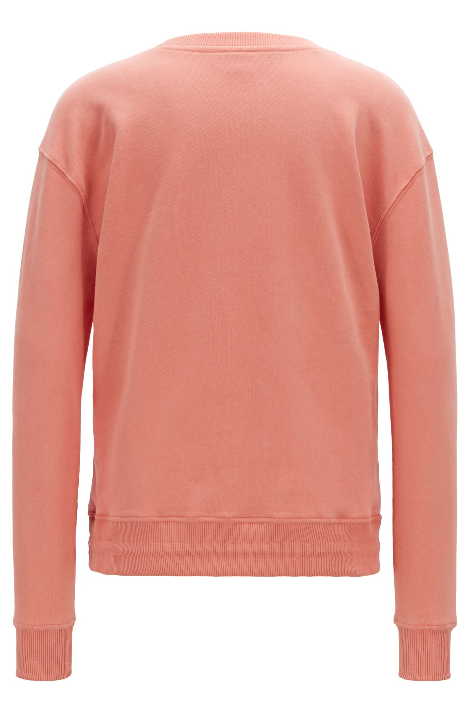 Logo sweatshirt in French terry with drawstring hem, Light Orange