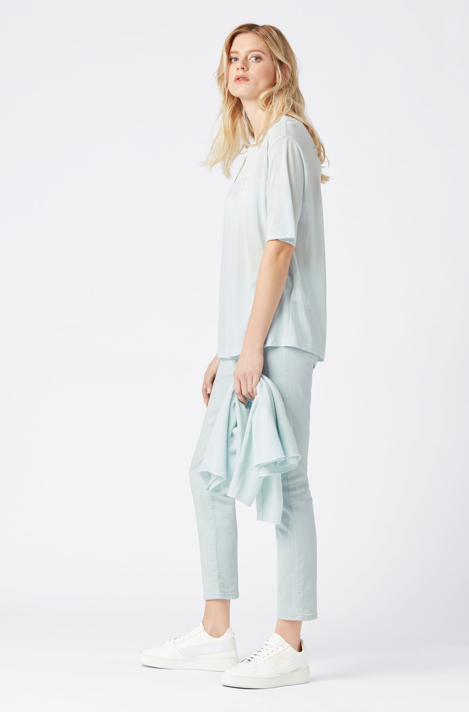 Oversized-fit T-shirt in translucent fabric with logo print, Light Blue