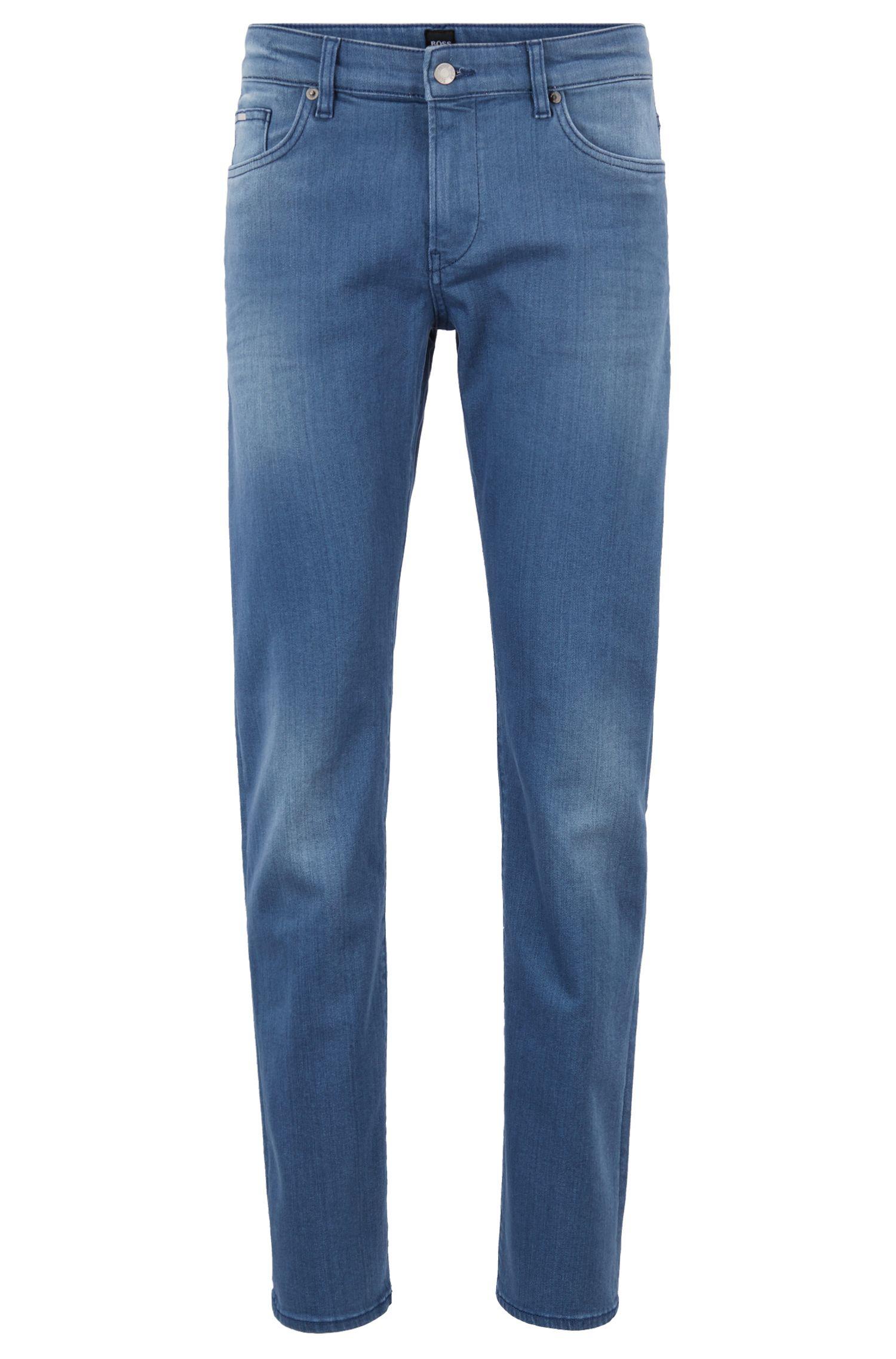 Jeans slim fit in denim BCI blu medio, Blu