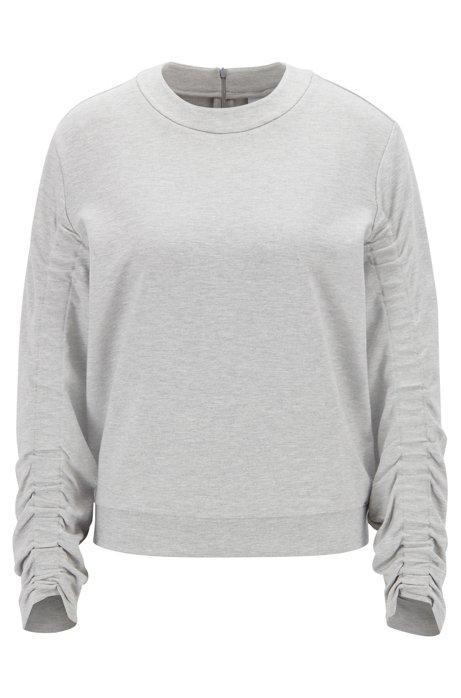 Oversized Sweatshirt aus Stretch-Gewebe mit gerafften Ärmeln, Grau
