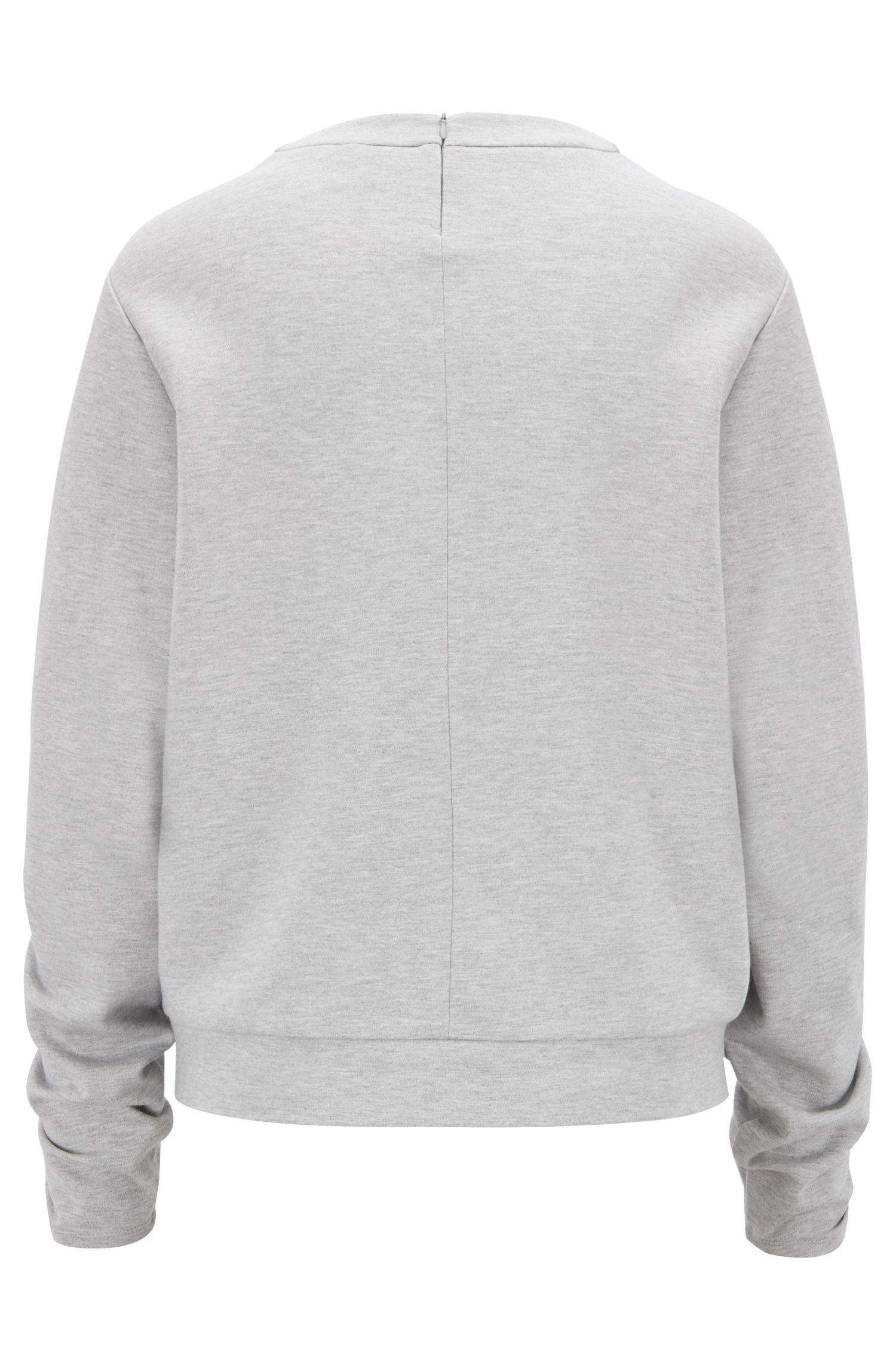 Oversized-fit sweatshirt in stretch fabric with smocked sleeves, Grey
