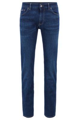 Regular-fit jeans van superzacht Italiaans stretchdenim, Donkerblauw