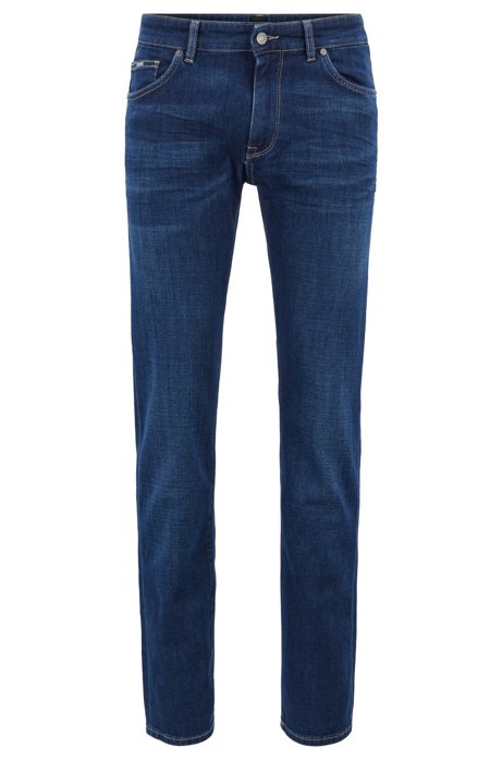 Regular-fit jeans van superzacht Italiaans stretchdenim, Donkerblauw