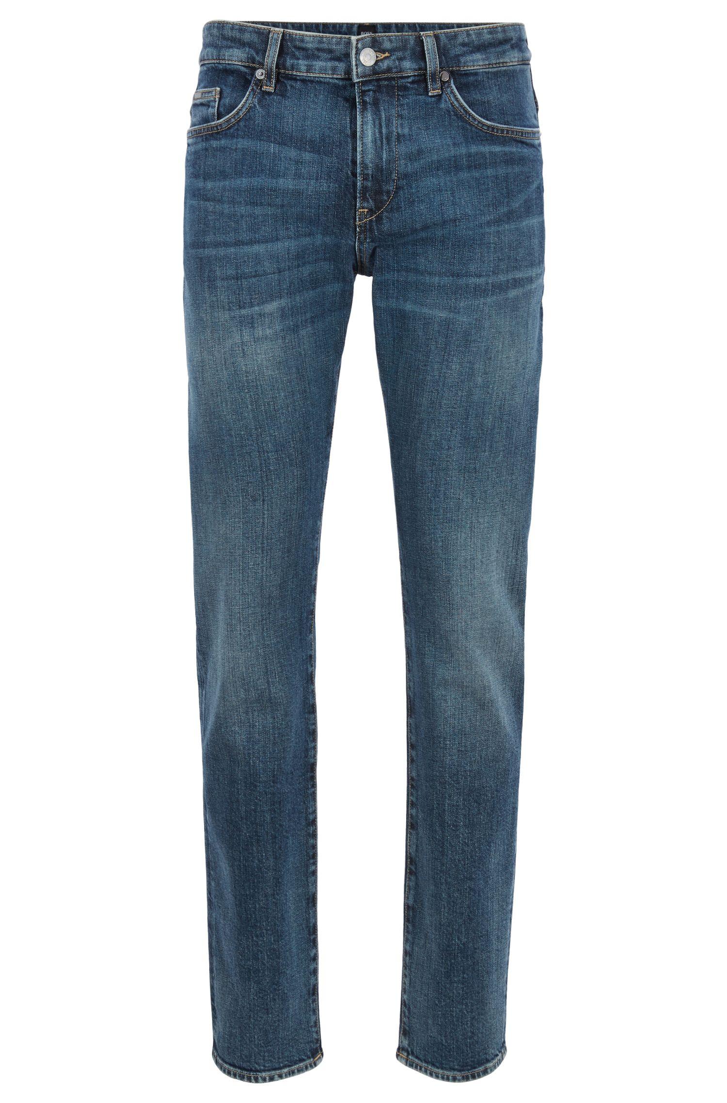 Green-cast slim-fit jeans in Italian BCI denim, Blue