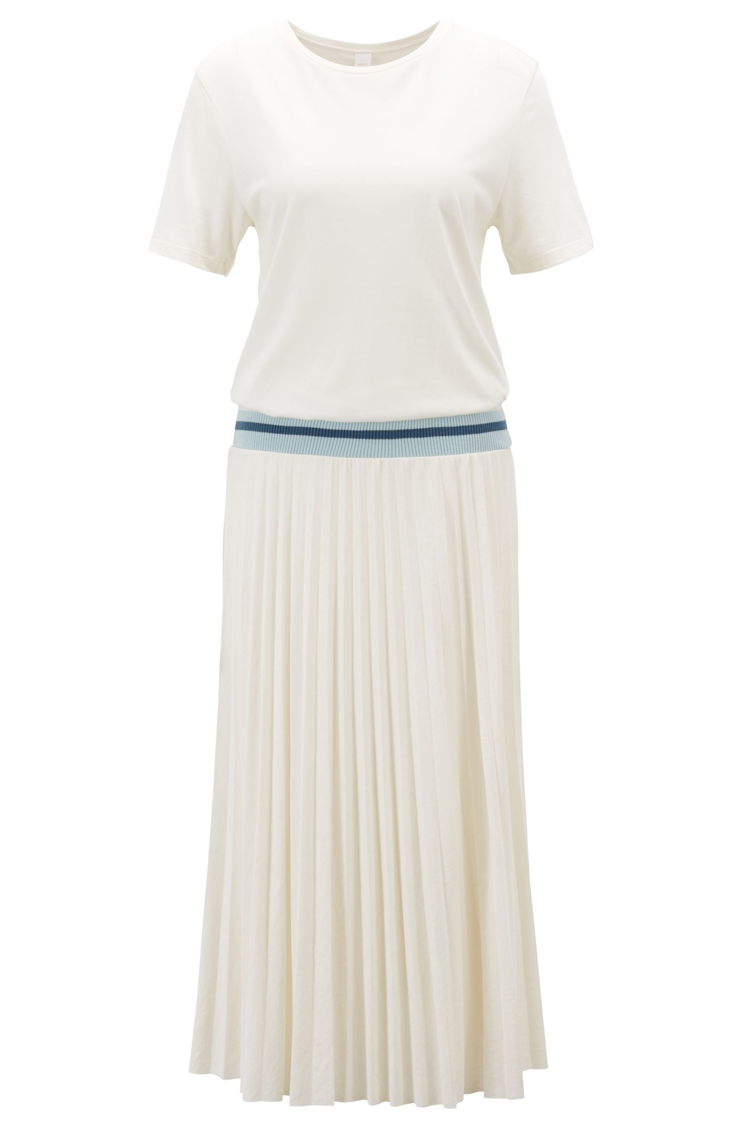 T-shirt dress with plissé skirt and ribbed waistband, Natural