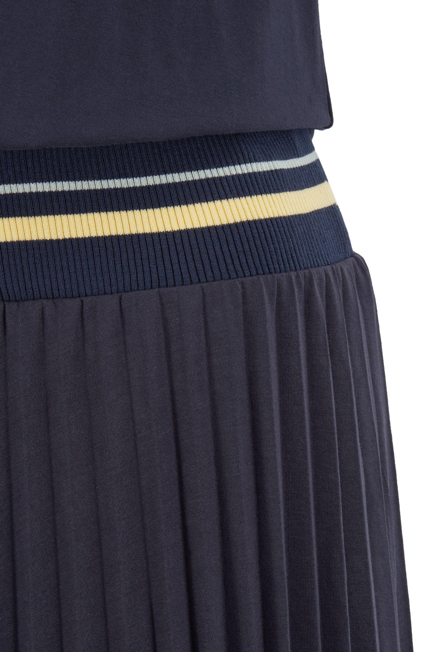 Vestido con camiseta y falda plisada con cintura acanalada, Azul oscuro