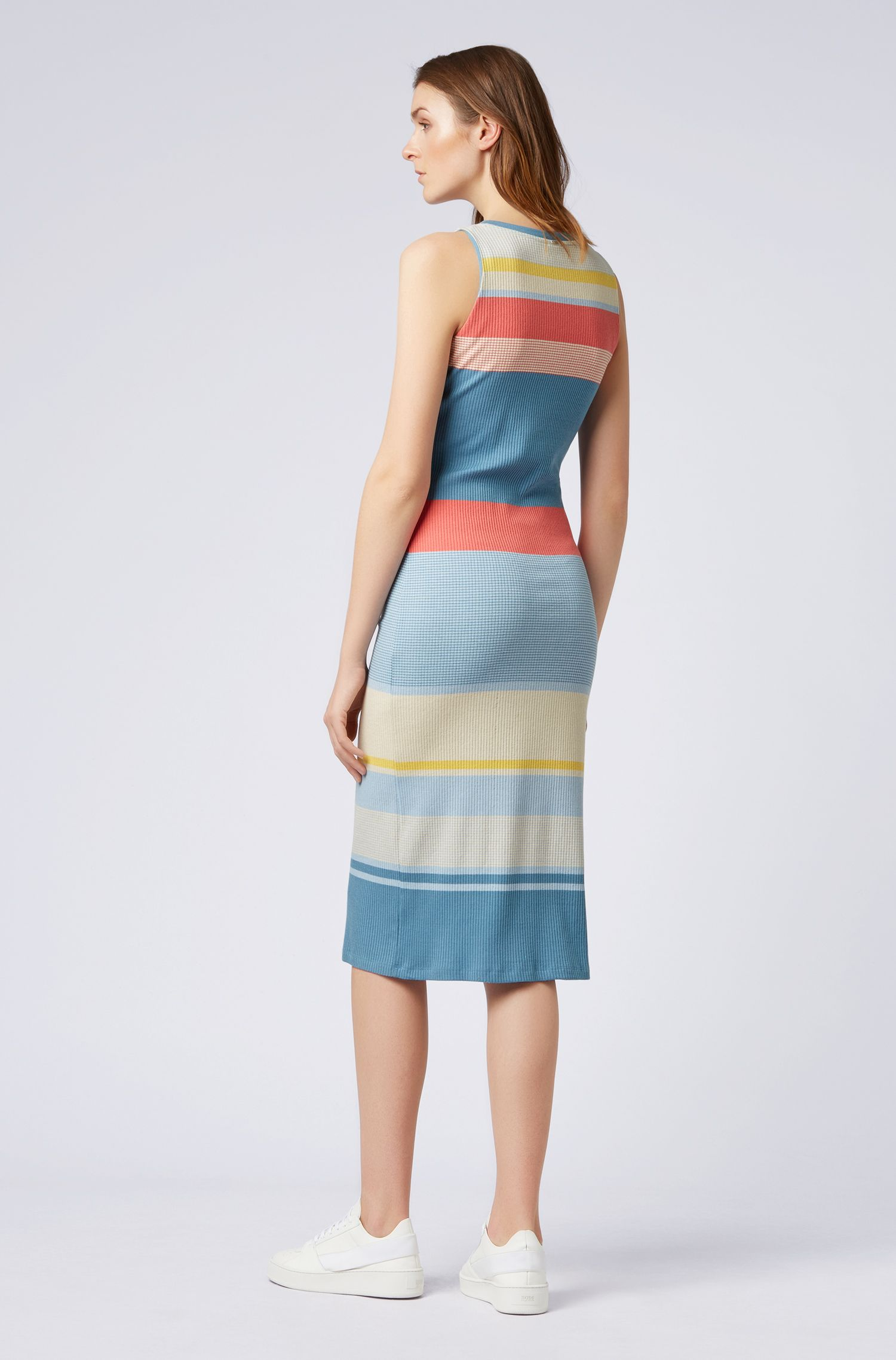 Slim-fit bodycon dress with irregular stripes, Patterned
