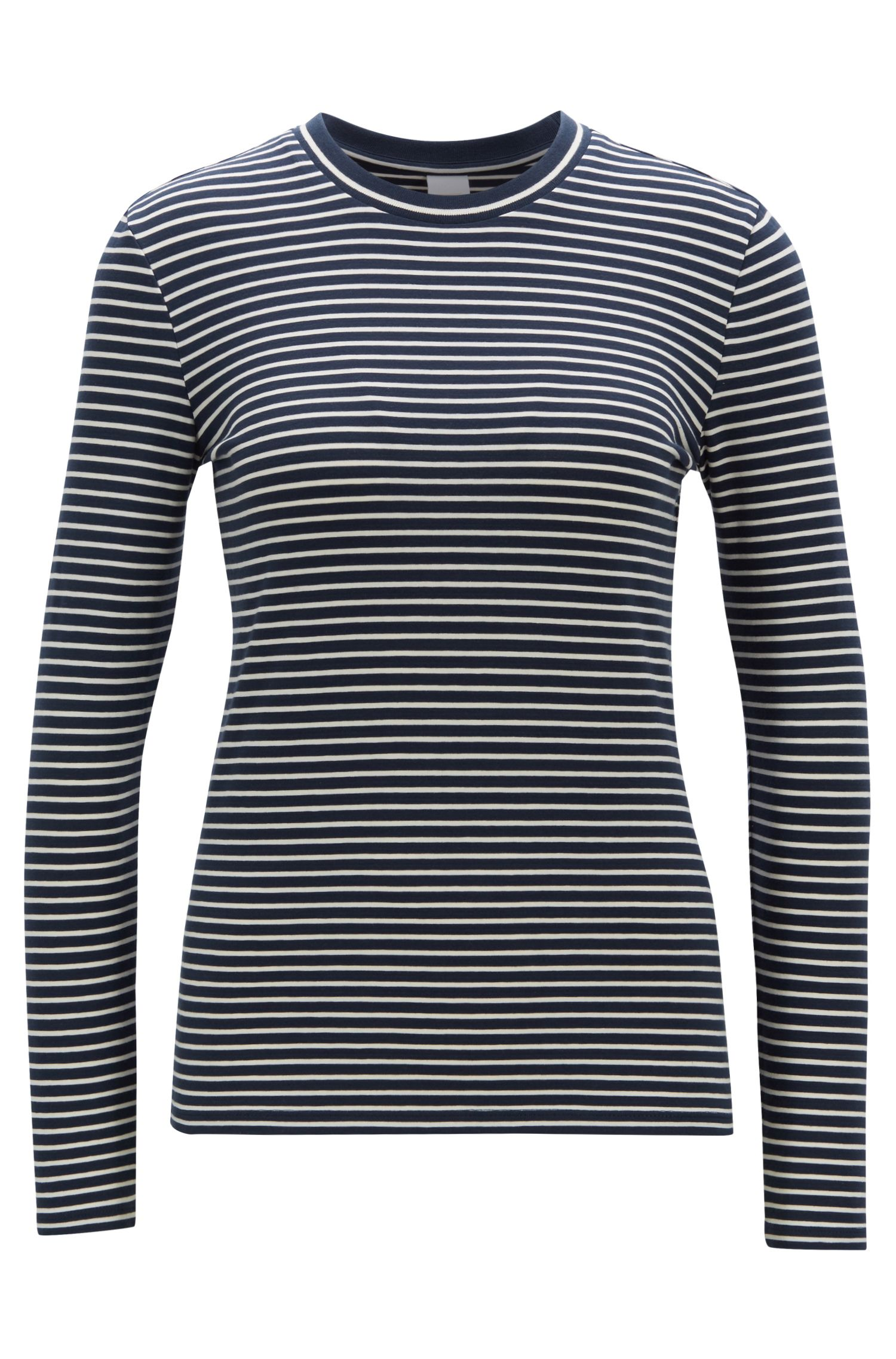Slim-fit long-sleeved T-shirt in striped stretch cotton, Patterned