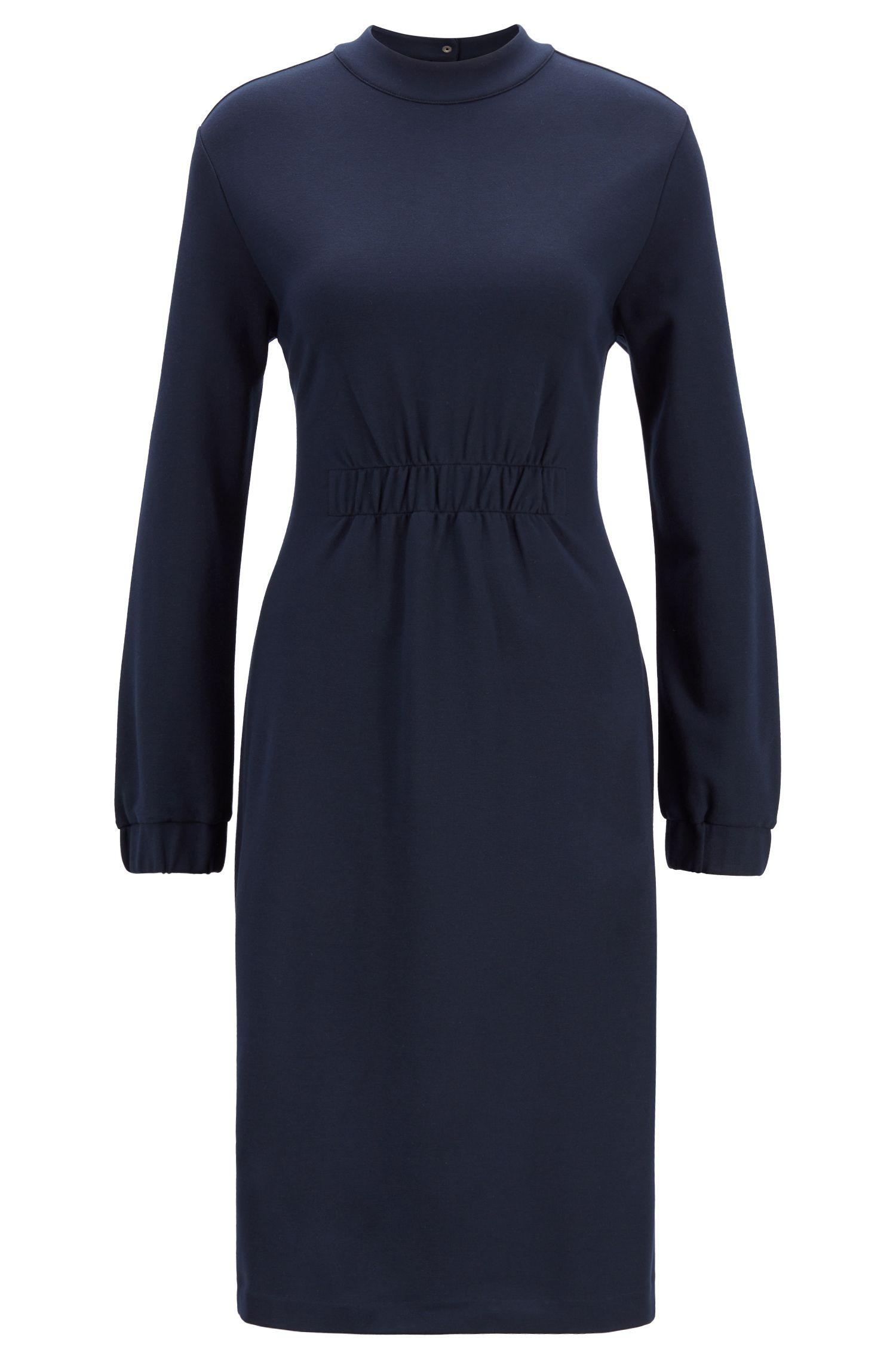 Slim-fit jurk met gesmokte taille en boorden, Turkoois