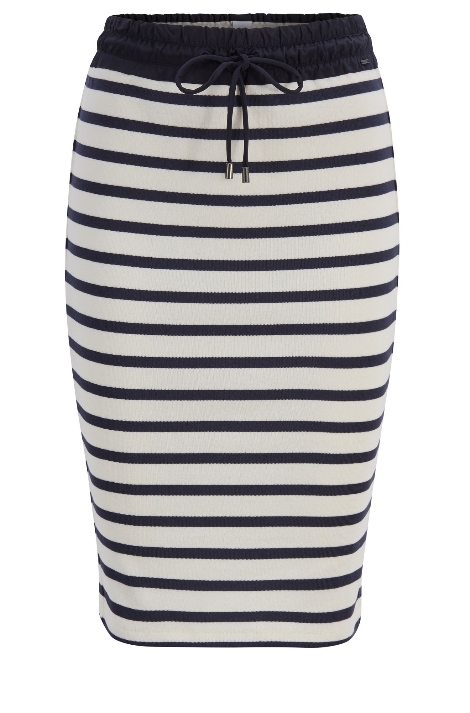 Striped cotton pencil skirt with technical drawstring waist, Patterned
