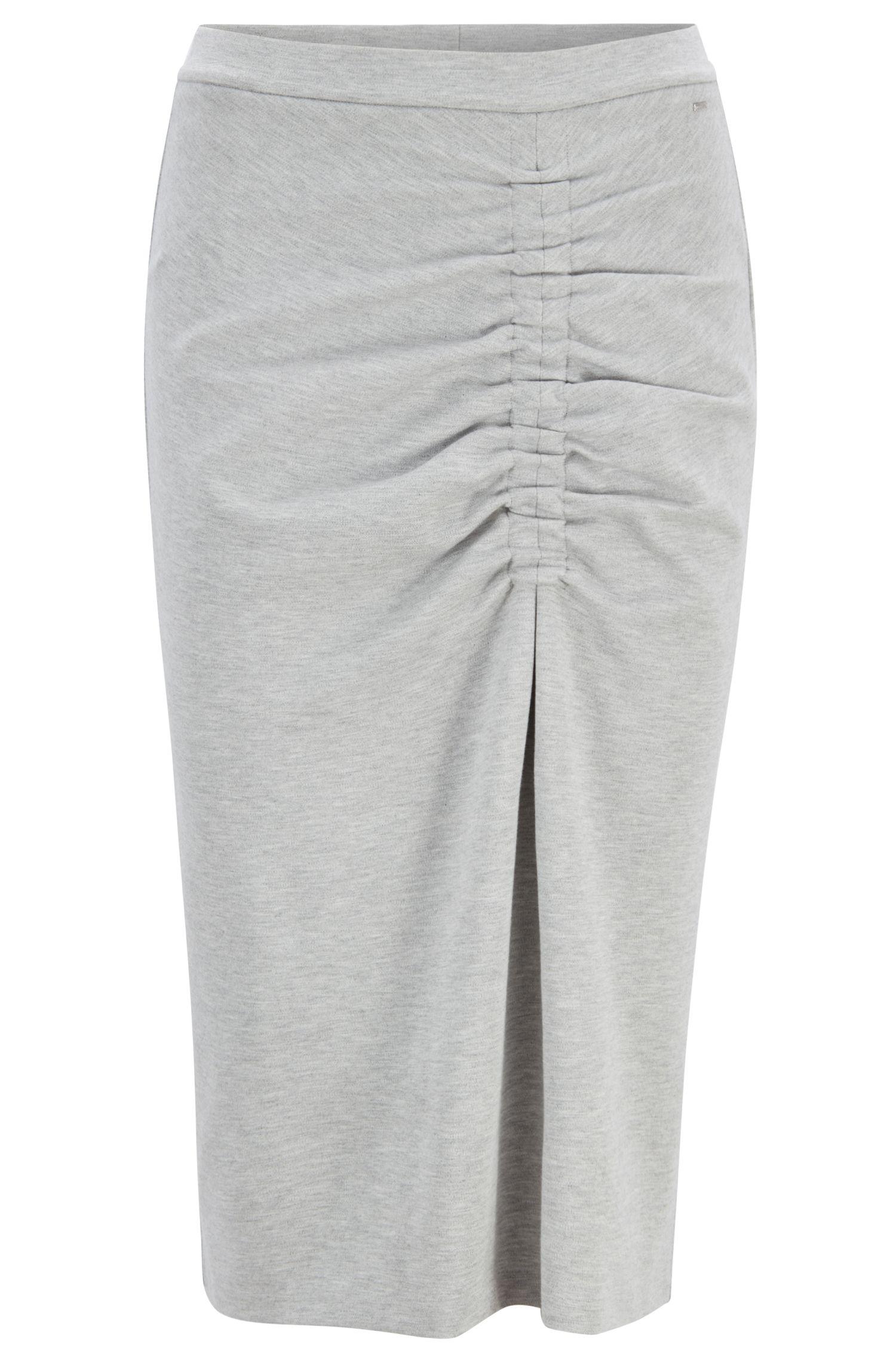 Bleistiftrock aus Stretch-Jersey mit asymmetrischer Raffung, Grau