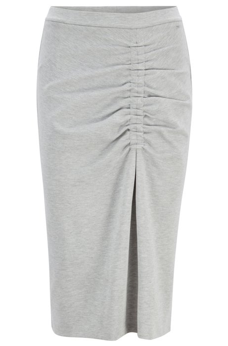 Jersey pencil skirt with asymmetric gathering, Grey