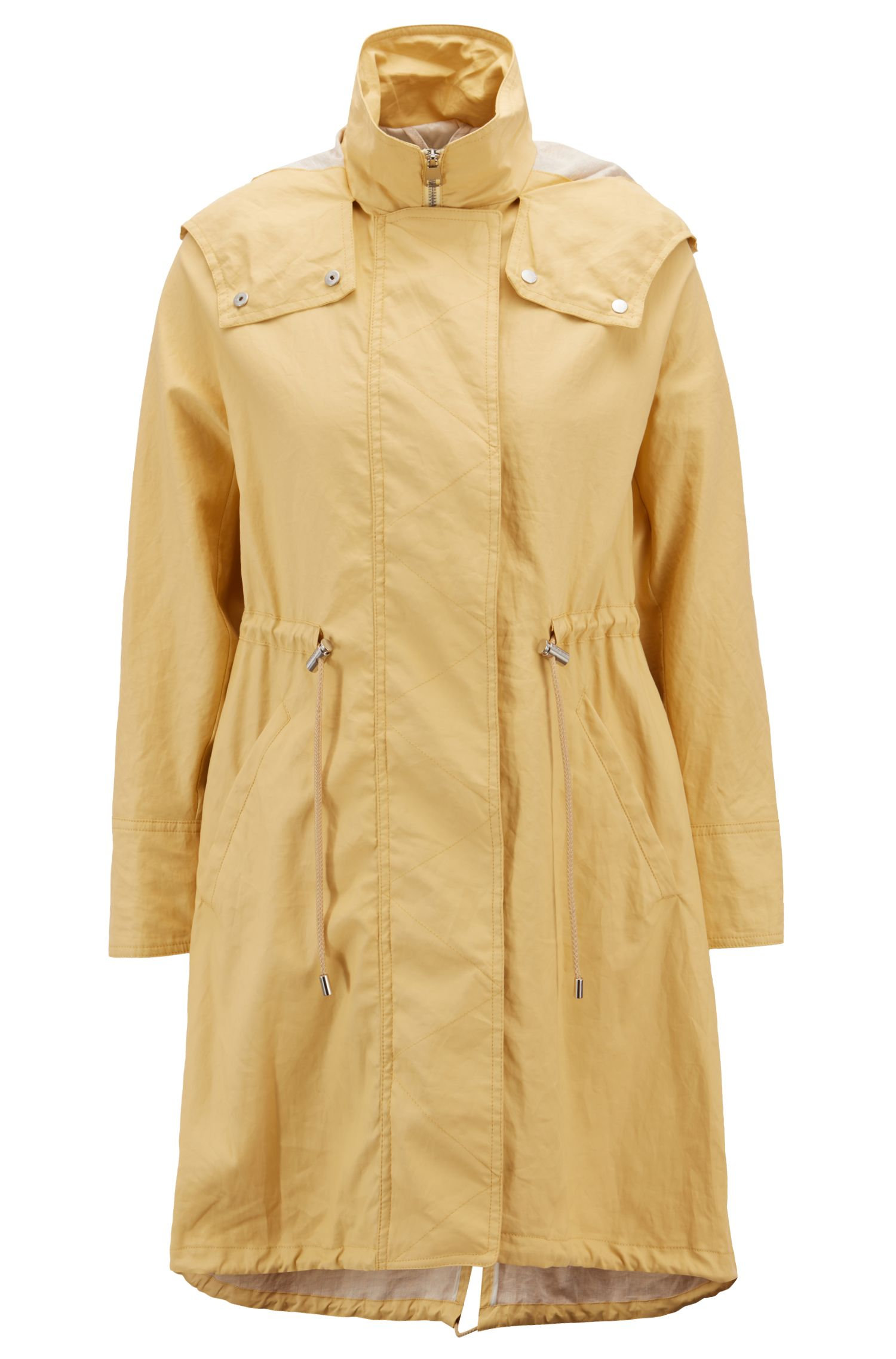 Parka jacket in water-repellent waxed cotton, Light Yellow