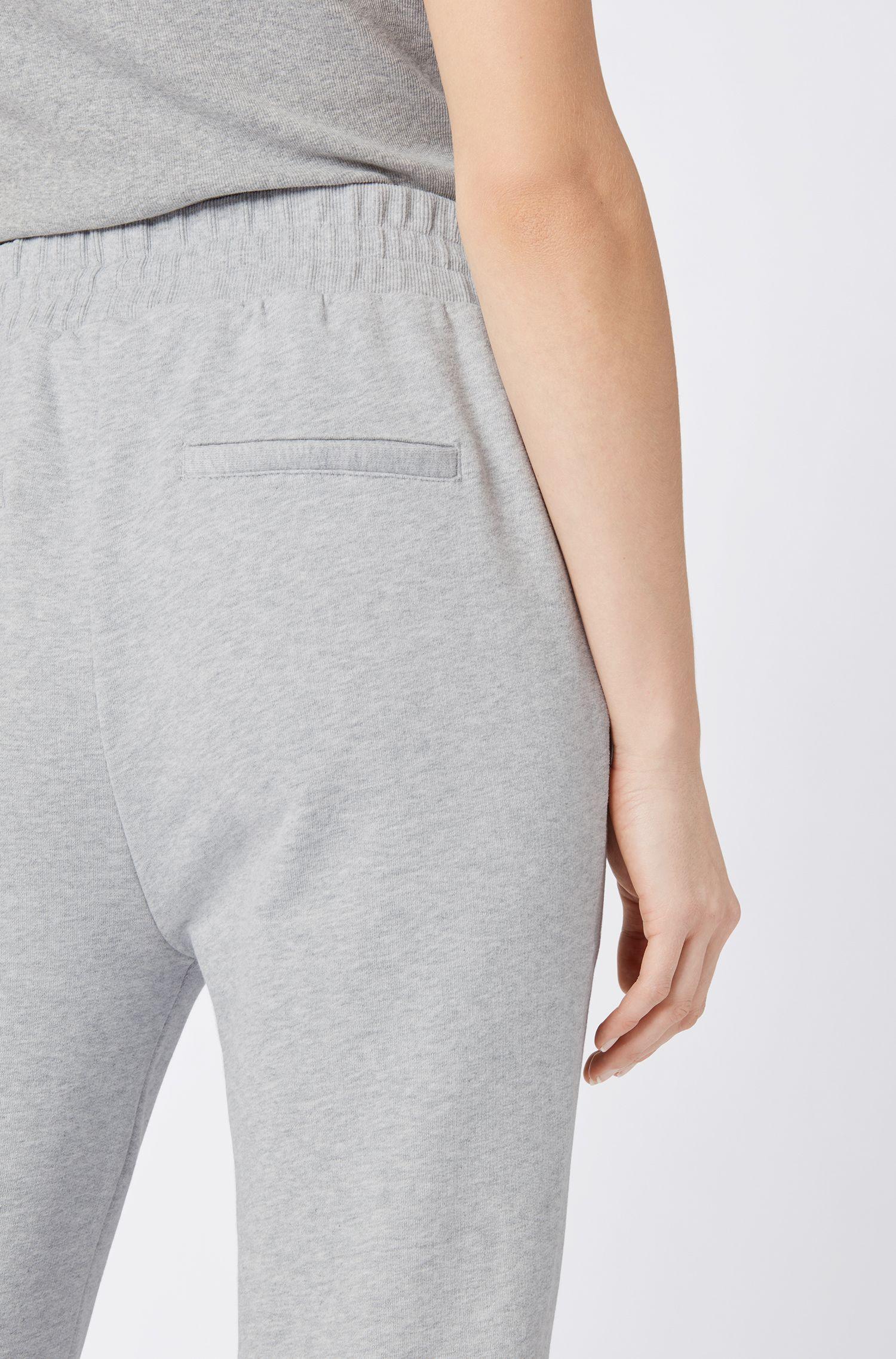Jersey broek van badstof met beenboorden en verstelbare tailleband, Grijs