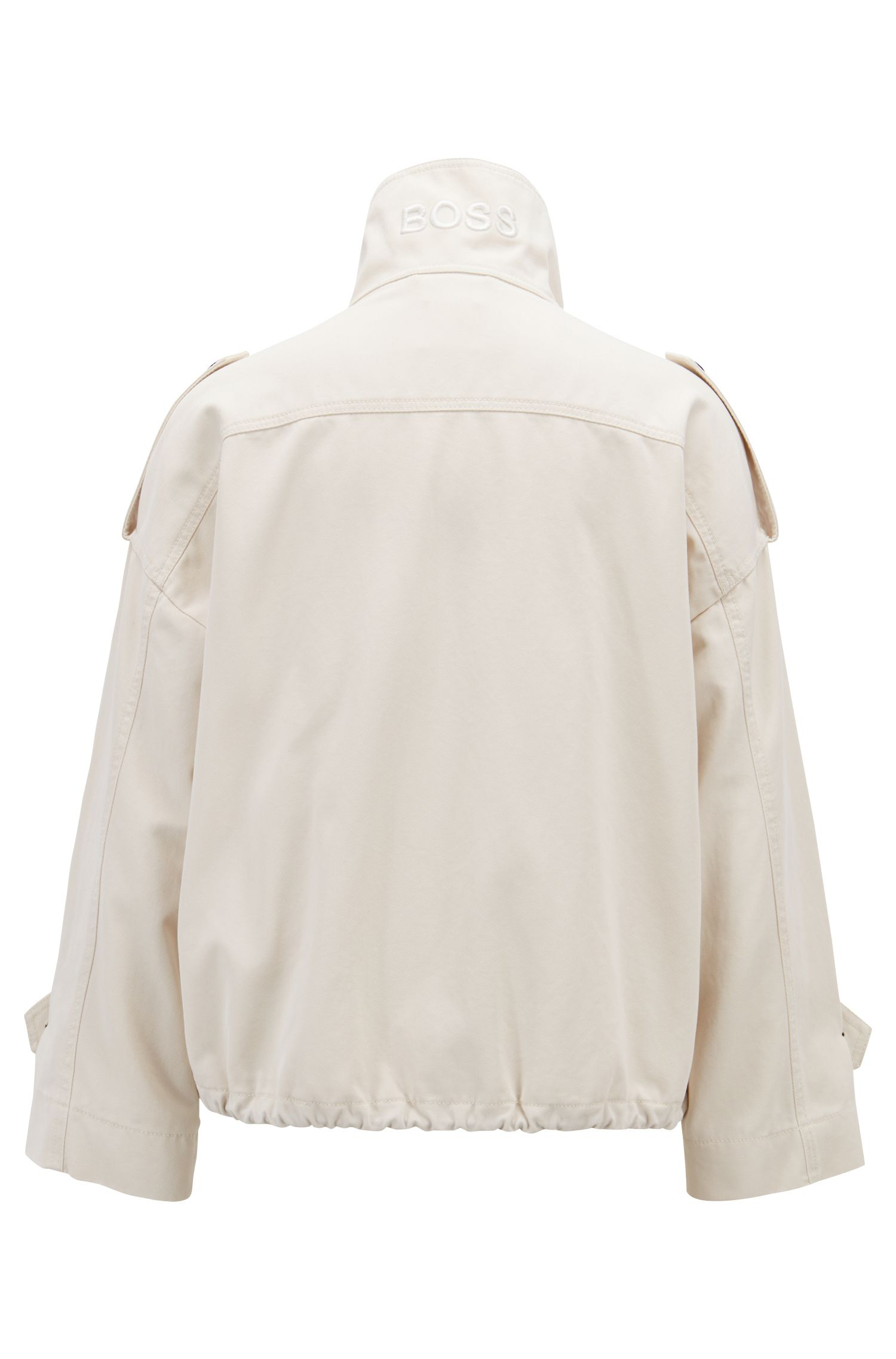 Relaxed-fit jacket with contrast buttons, Natural