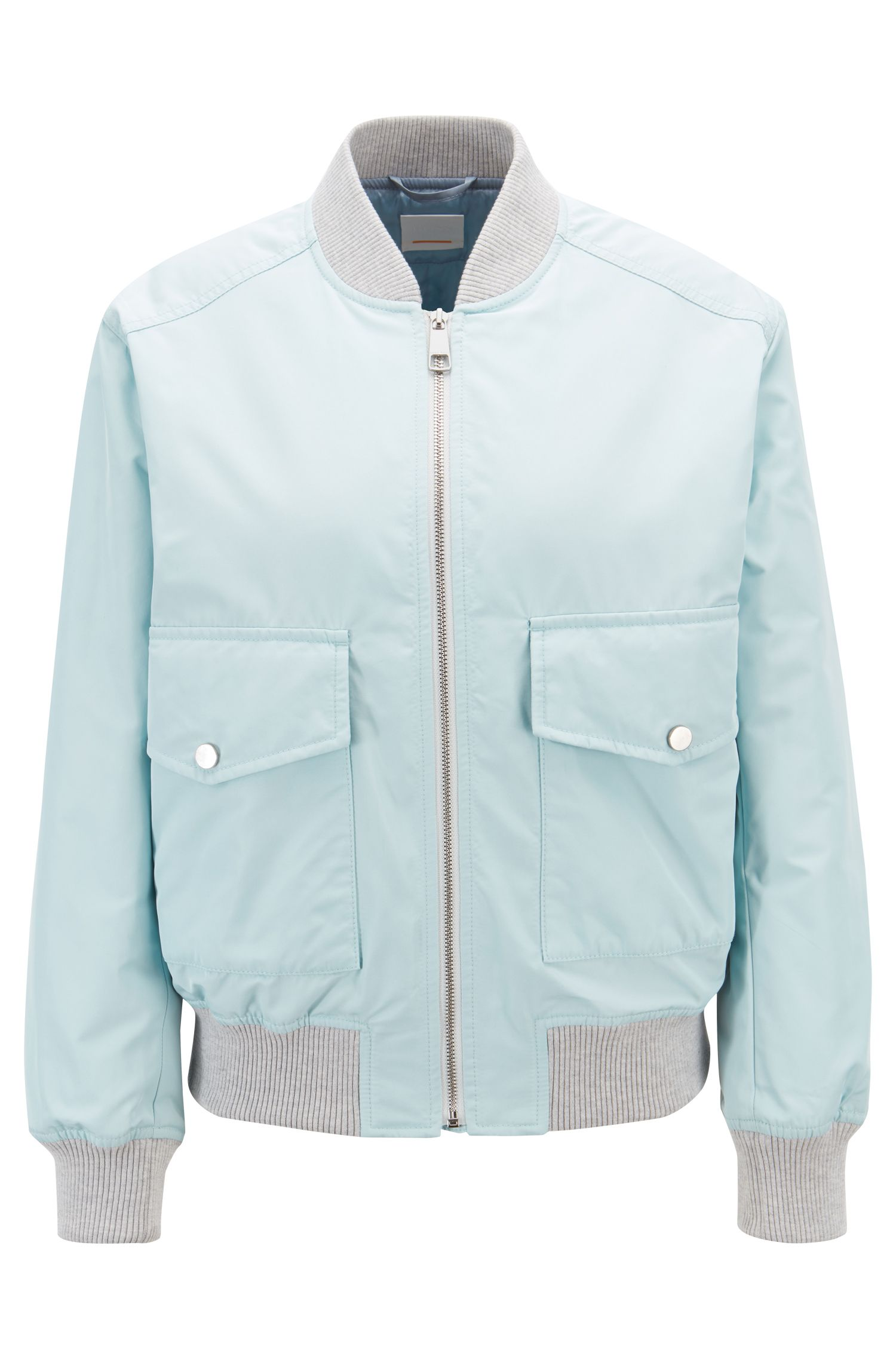 Bomber-style water-repellent jacket with patch pockets, Light Blue