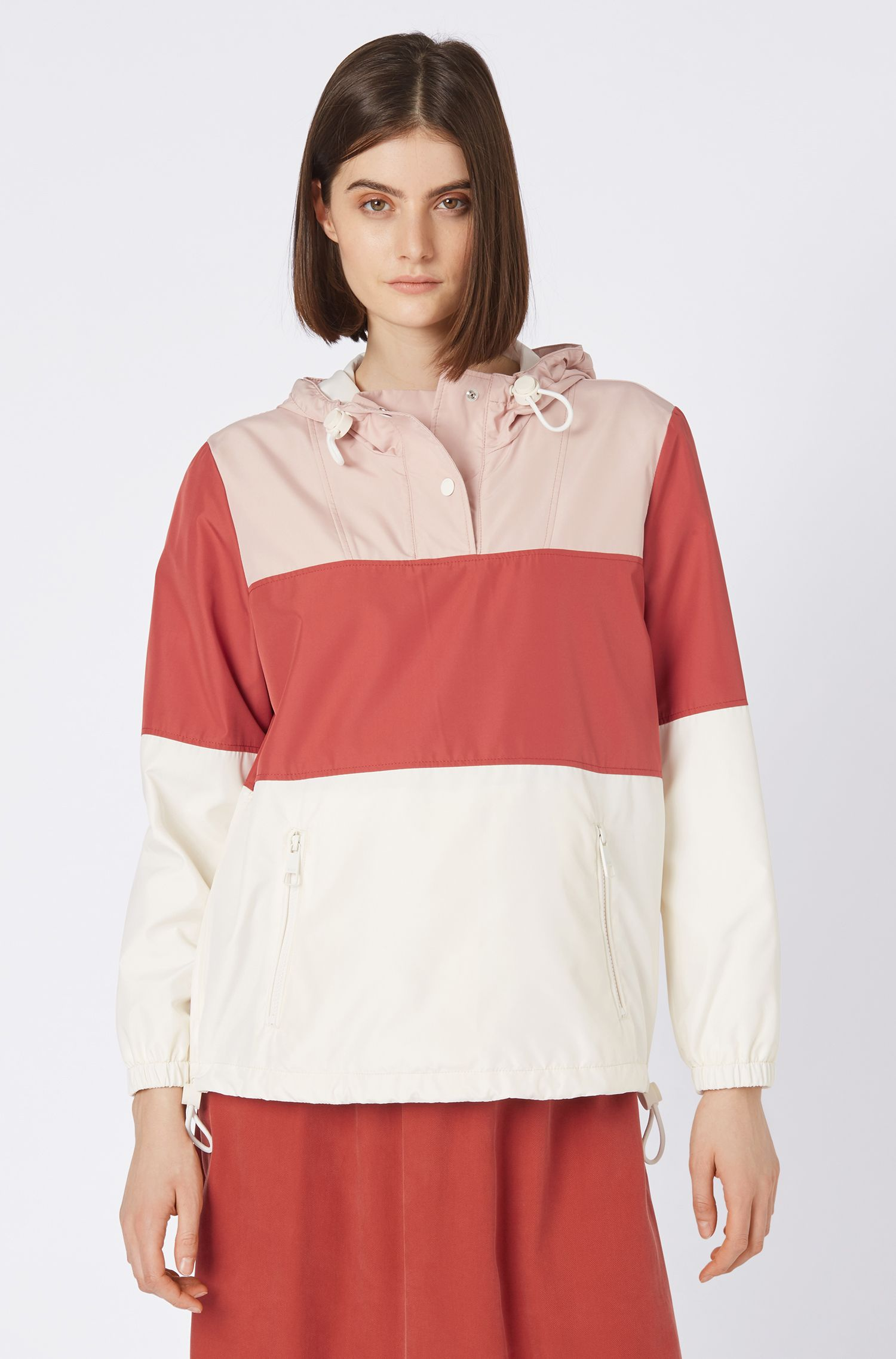 Colour-block anorak in water-repellent technical fabric, Light Red