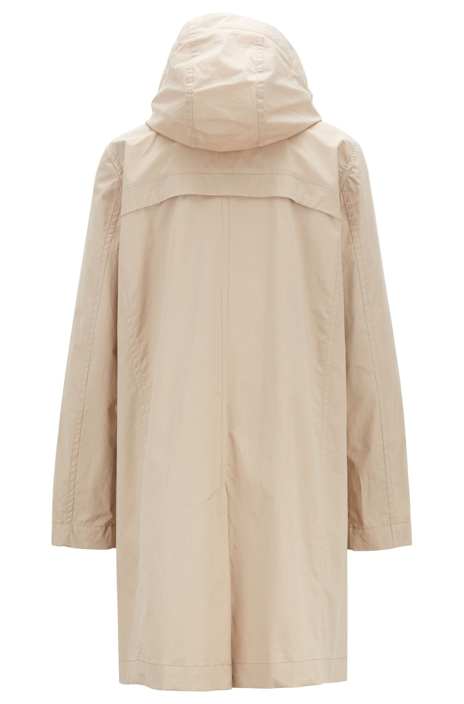 Long-length hooded jacket in water-repellent coated cotton, Beige