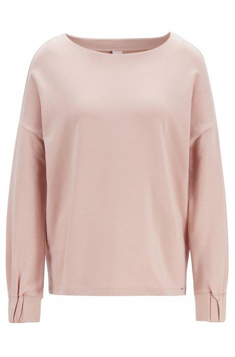 444625cfcc7 BOSS - Relaxed-fit sweater van badstof met gesmockte boorden