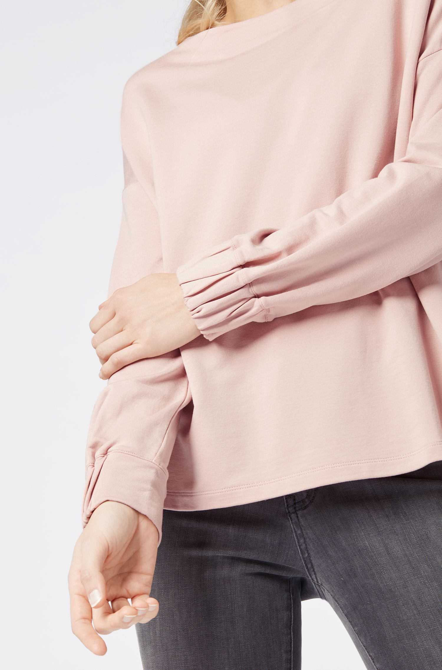Relaxed-fit terry sweatshirt with smocked cuffs, Light Red