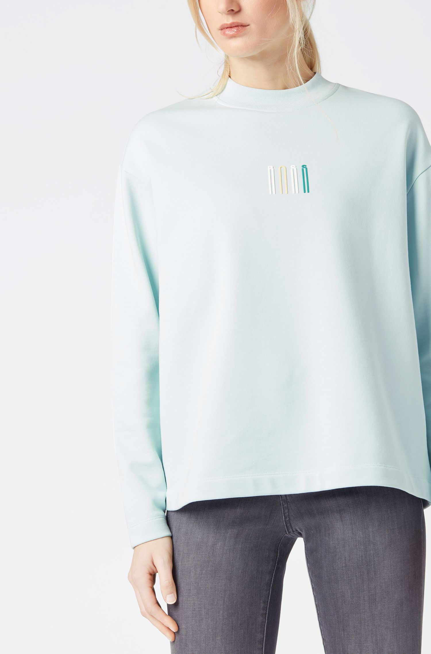 Round-neck sweatshirt in French terry with 3D logo, Light Blue