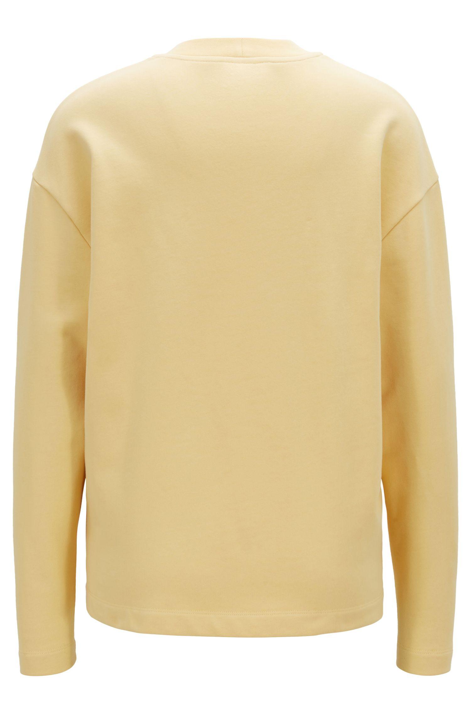 Sweatshirt aus French Terry mit Rundhalsausschnitt und 3D-Logo, Hellgelb