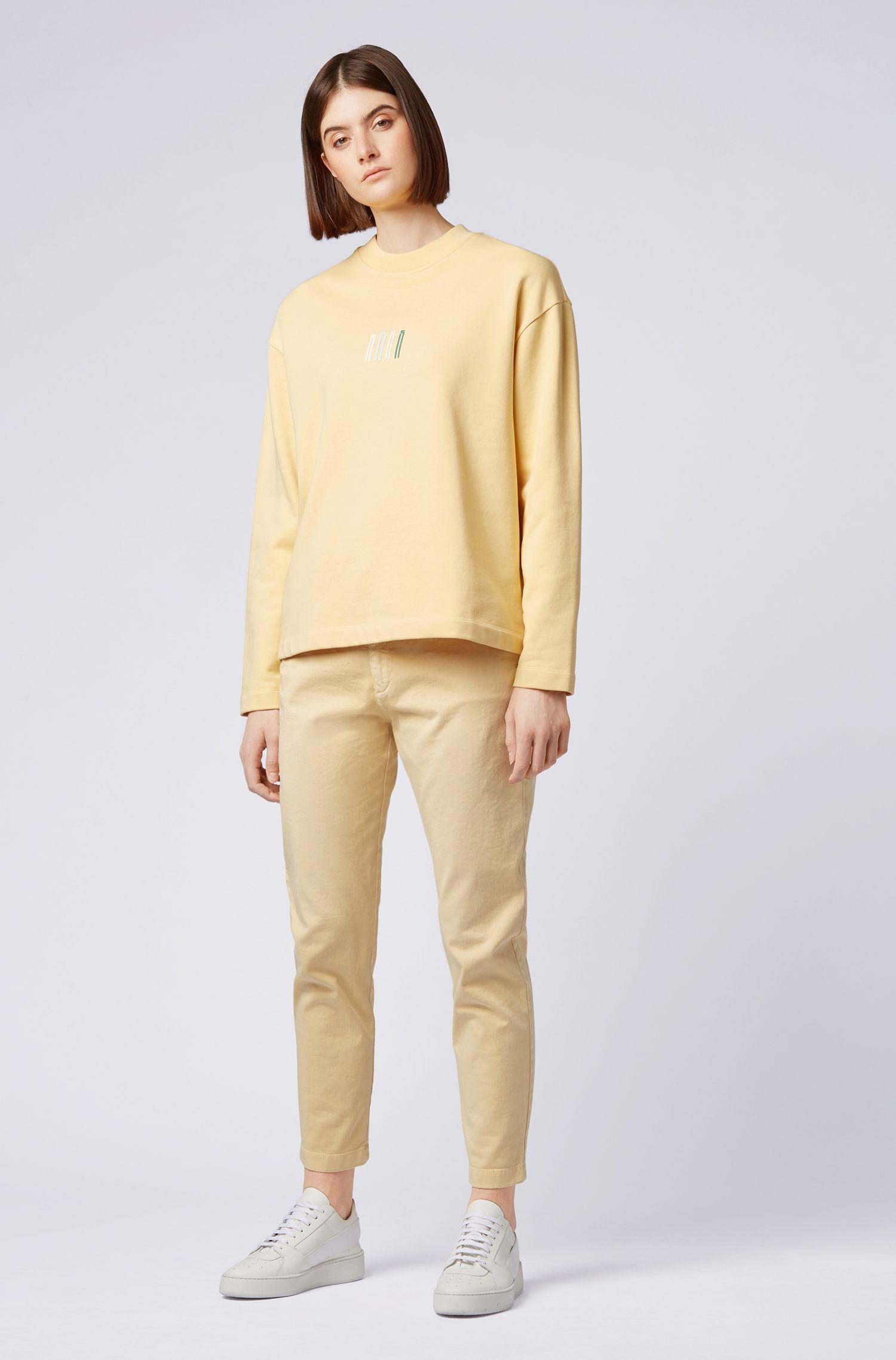 Sudadera de cuello redondo en felpa de rizo con logo en 3D, Amarillo claro