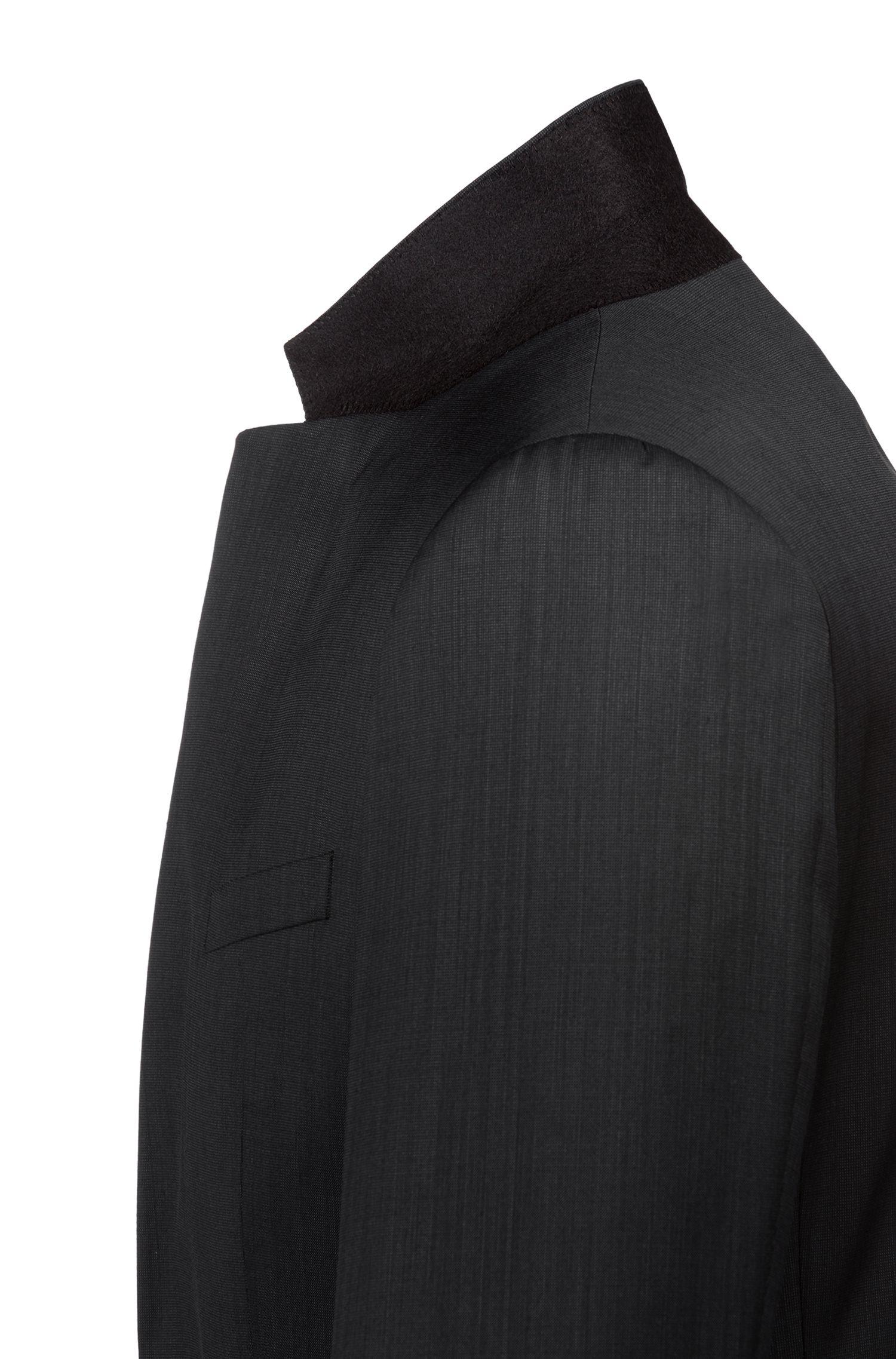 Costume Extra Slim Fit en laine vierge mélangée bicolore, Noir