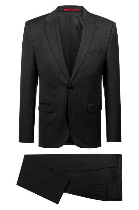 Extra Slim-Fit Anzug aus zweifarbigem Schurwoll-Mix, Schwarz