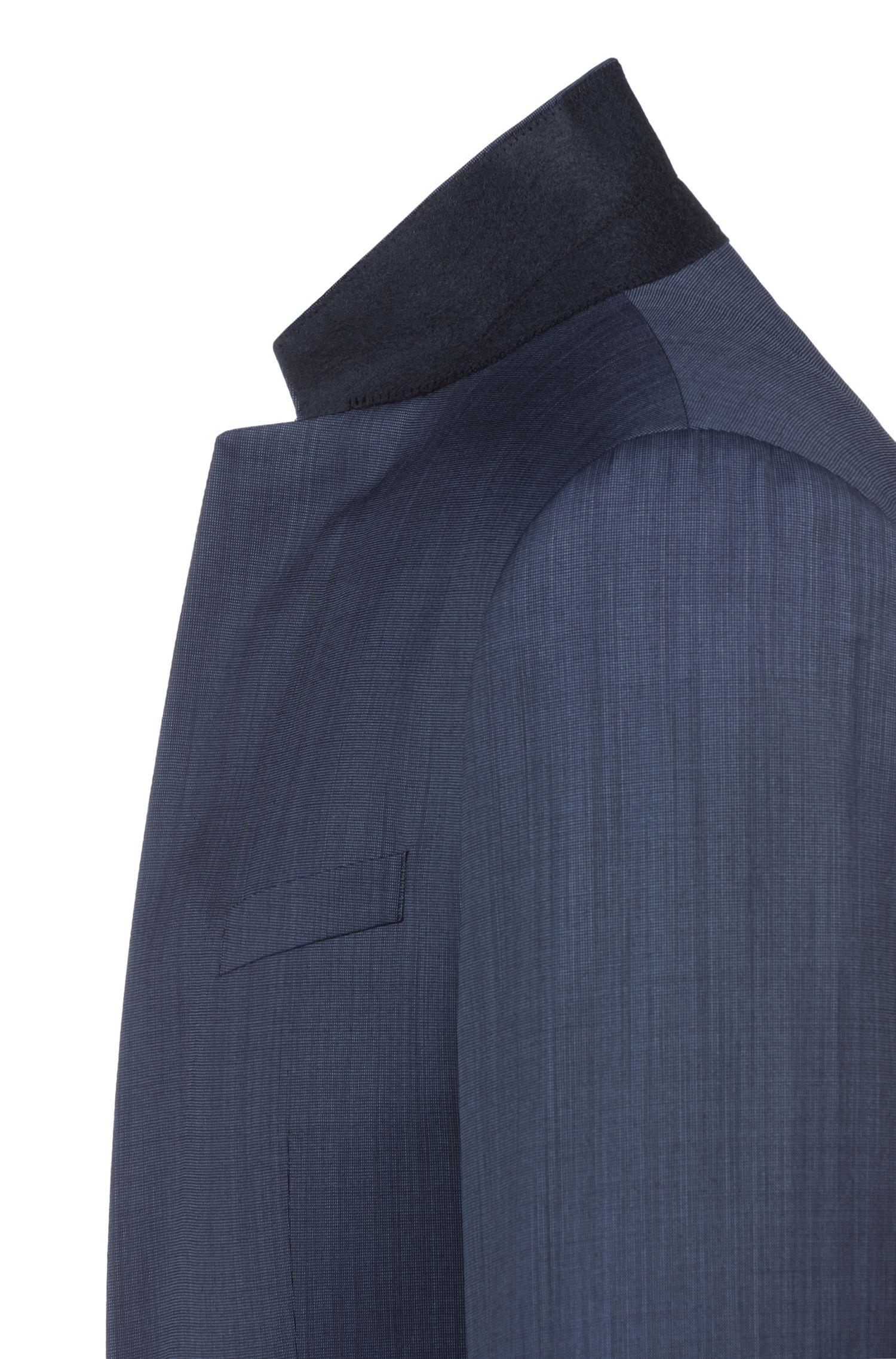 Extra Slim-Fit Anzug aus zweifarbigem Schurwoll-Mix, Dunkelblau